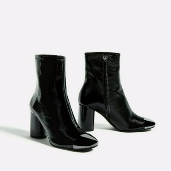 best place performance sportswear new list Zara Shoes | High Heel Leather Ankle Boots Metallic Toe 5 | Poshmark
